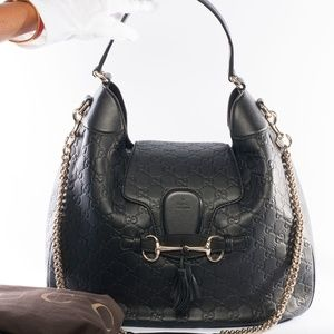 Auth GUCCI Emily Guccissima Medium Hobo Handbag